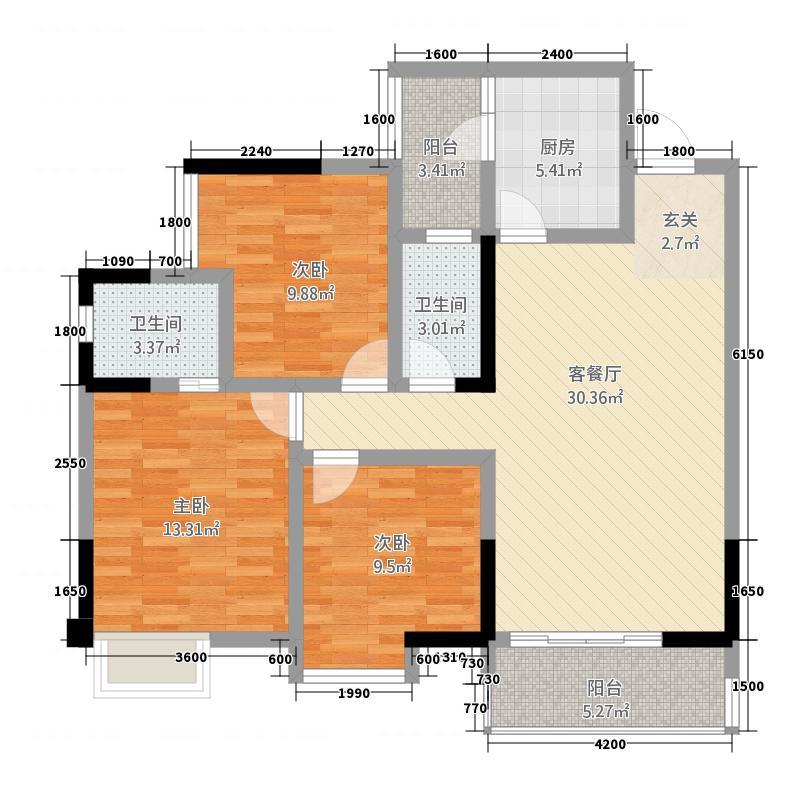 橄榄生态园111.15㎡A户型3室2厅2卫1厨