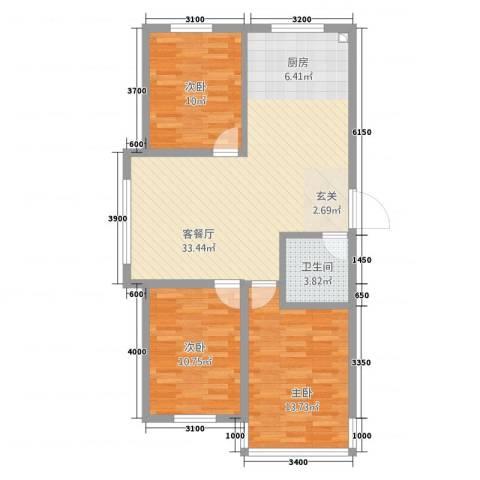 禾泰嘉园3室1厅1卫0厨72.06㎡户型图