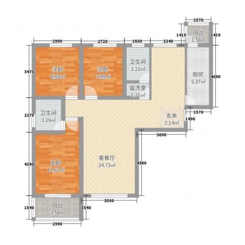 大通君澜3室2厅2卫1厨178.00㎡户型图