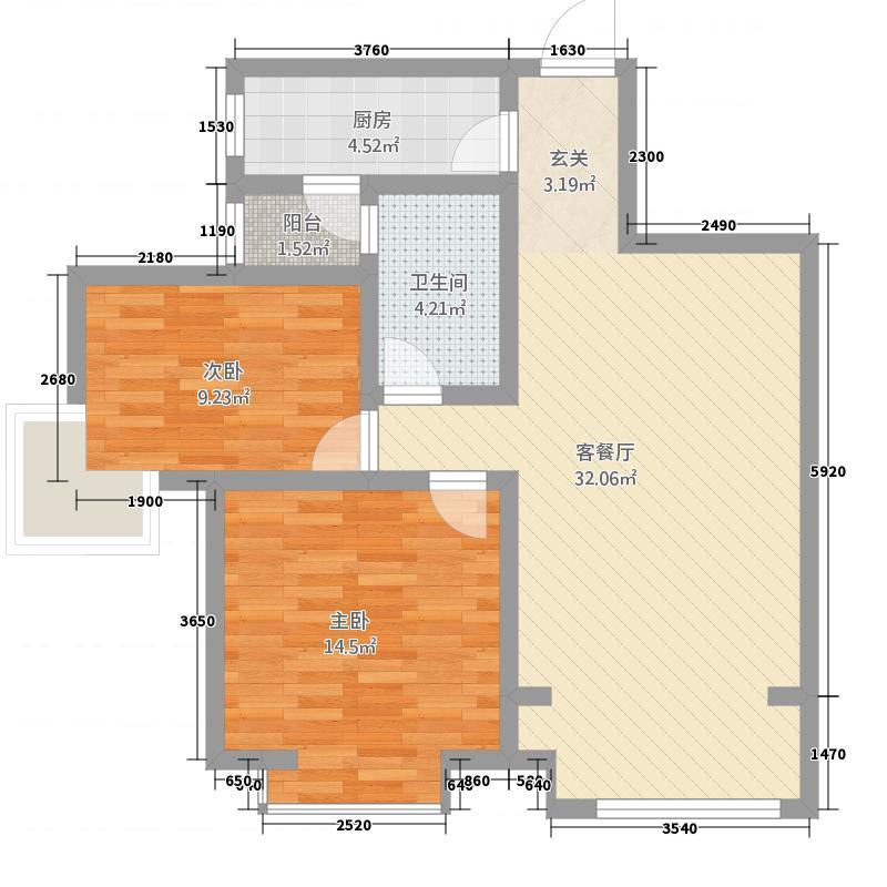 青龙紫薇花园3.58㎡C户型2室2厅1卫1厨