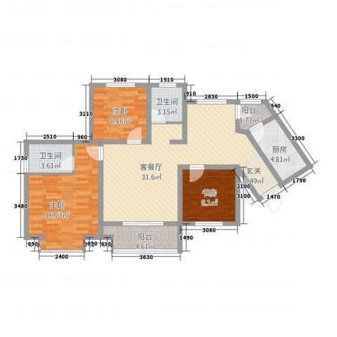 青龙紫薇花园3室1厅2卫1厨119.00㎡户型图