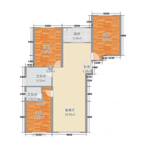 金桥花园3室1厅2卫1厨134.00㎡户型图