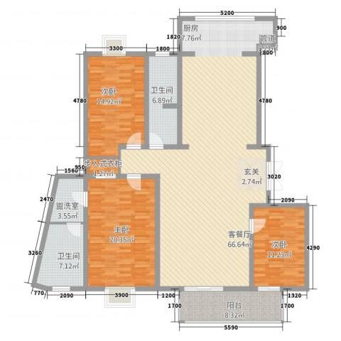 TOP世界观3室2厅2卫0厨140.50㎡户型图