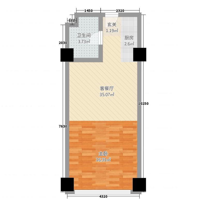 大唐国际商务公寓6.00㎡户型1室