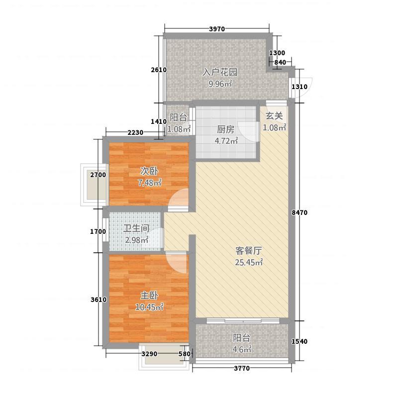 城建・熙园6.80㎡户型2室2厅1卫1厨