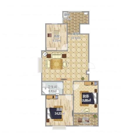 御山雅苑3室1厅1卫1厨113.00㎡户型图