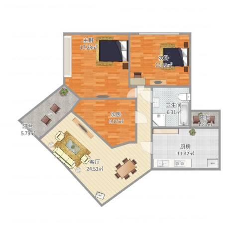 鸿景园3室1厅1卫1厨120.00㎡户型图