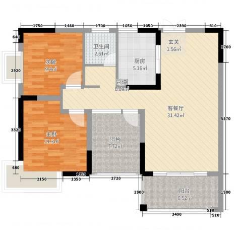 金霞湘绣园2室1厅1卫1厨74.22㎡户型图