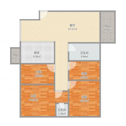 富康花园4室1厅2卫1厨108.00㎡户型图