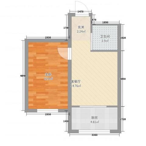 东亿・瑞馨佳园1室1厅1卫1厨34.86㎡户型图