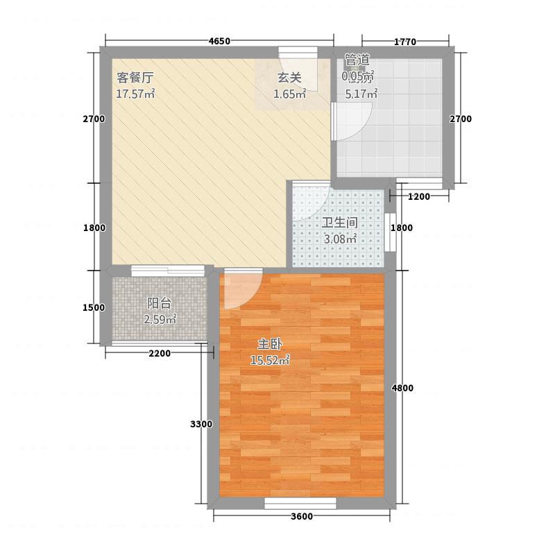 蜂巢・蓝领公寓56.15㎡B户型1室1厅1卫1厨