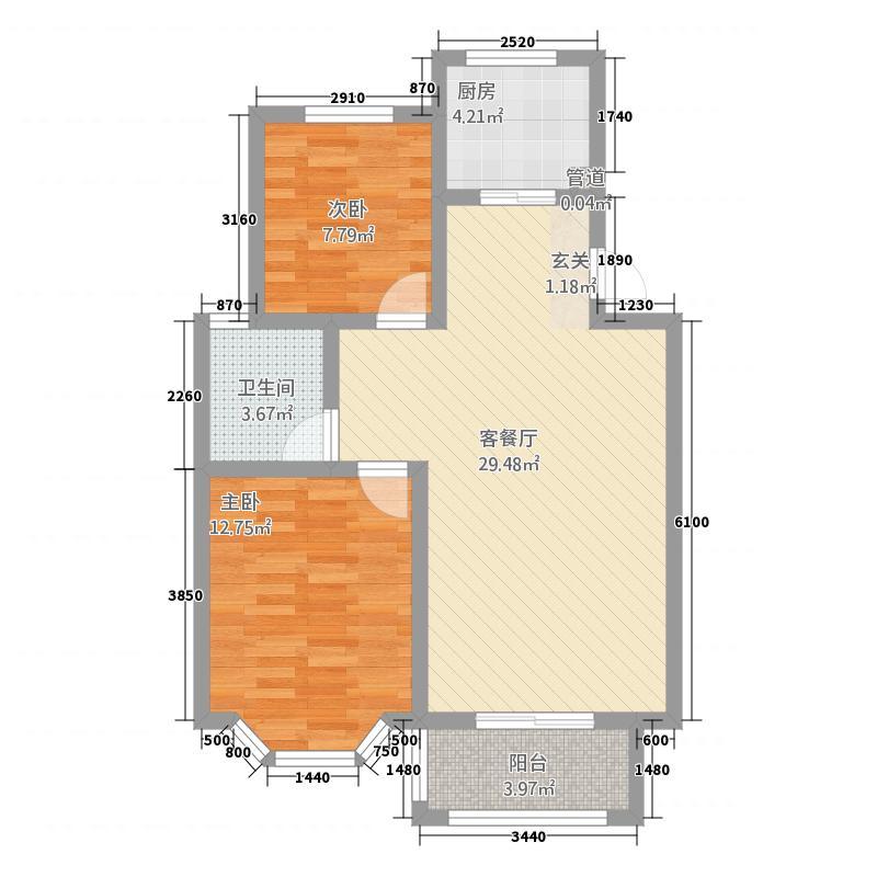 亚华桂竹园8.50㎡户型2室2厅1卫1厨