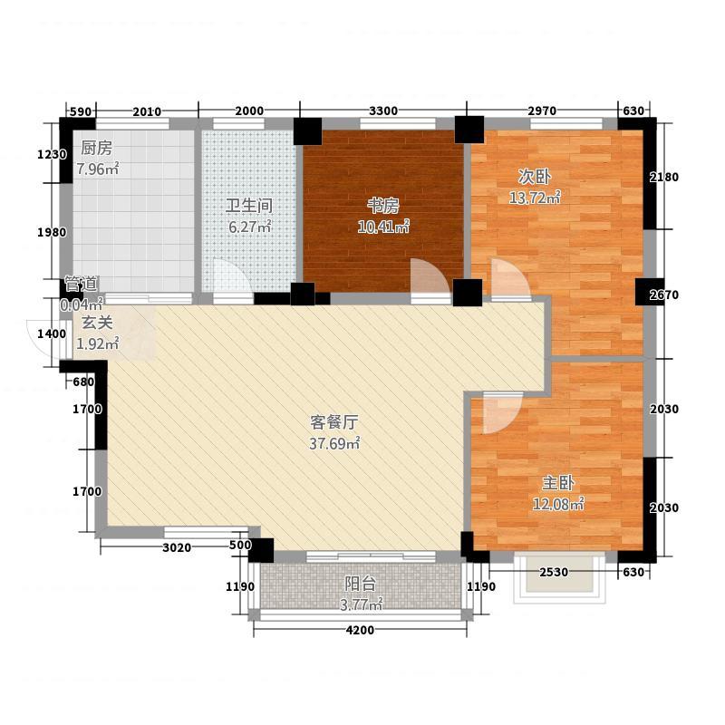 尚书名府12.00㎡5B(1)户型3室2厅1卫