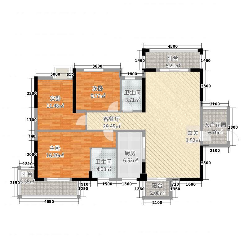 华铭广场132.83㎡A1户型3室2厅2卫1厨