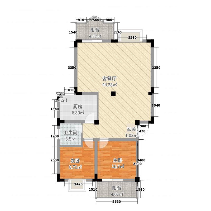 都江花园8.40㎡户型2室2厅1卫1厨