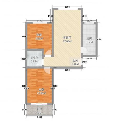 朱雀3602室1厅1卫1厨66.26㎡户型图