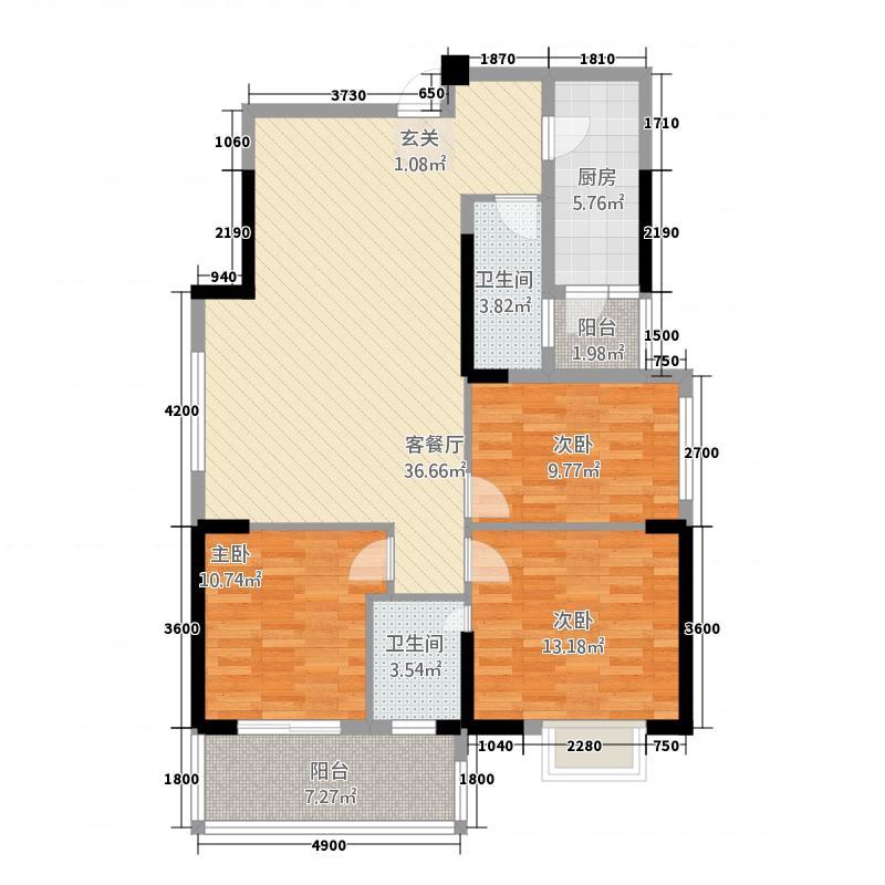 华铭广场118.88㎡A3户型3室2厅2卫1厨