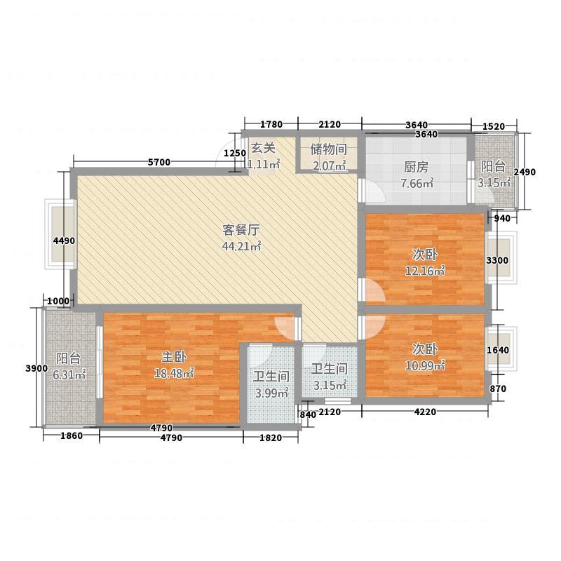 舜苑国色天香134.70㎡B2型户型3室2厅2卫1厨