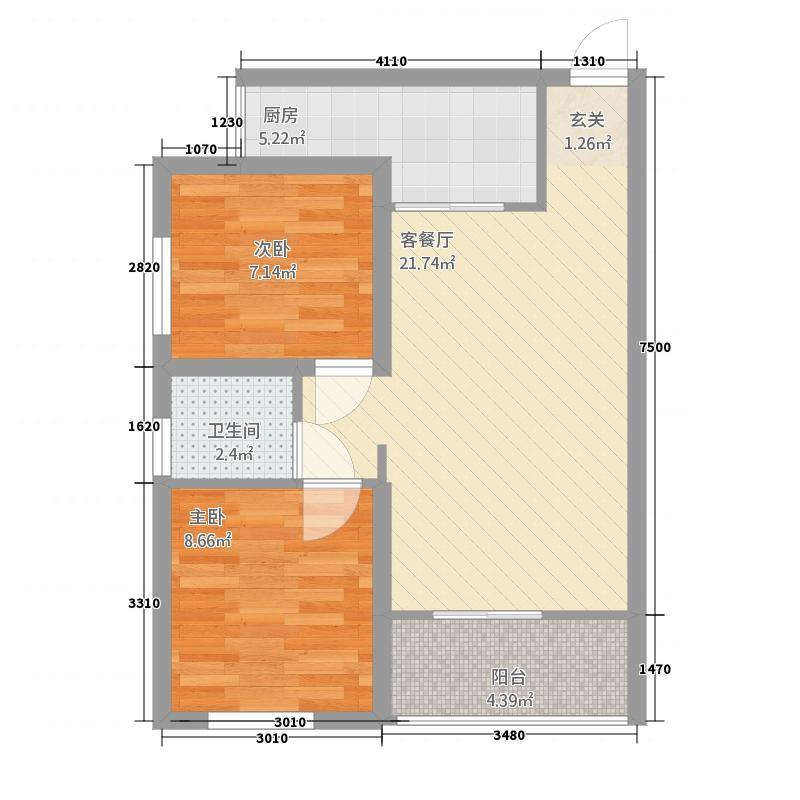 卢浮世家E3型户型2室2厅1卫1厨