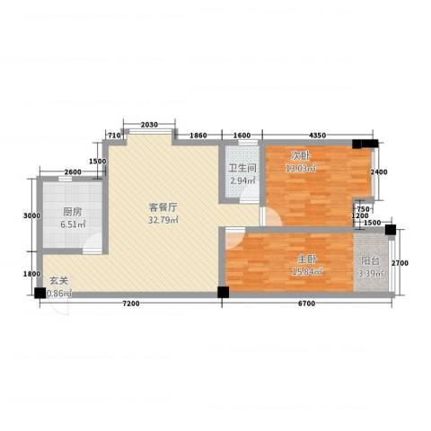 福星都市时尚2室1厅1卫1厨71.12㎡户型图