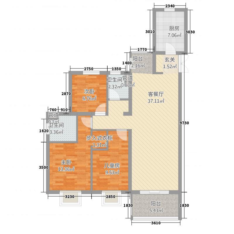 高速・时代城12.00㎡C2户型3室2厅2卫1厨