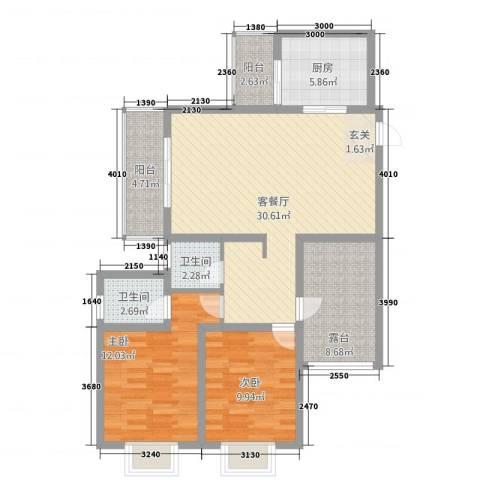 福成・金色嘉园2室1厅2卫1厨92.00㎡户型图