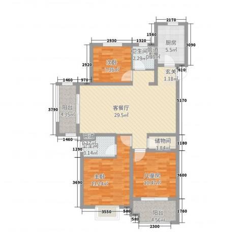 高速・时代城3室1厅2卫1厨82.62㎡户型图