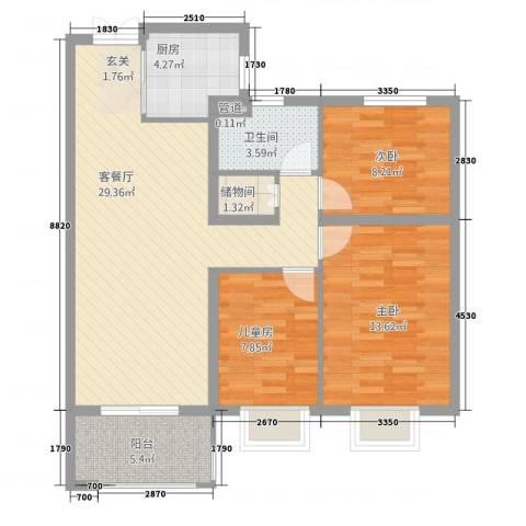 高速・时代城3室1厅1卫1厨73.74㎡户型图