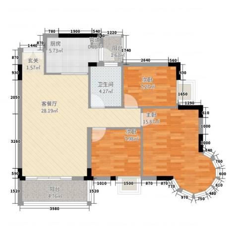 盛世华庭3室1厅1卫1厨107.00㎡户型图