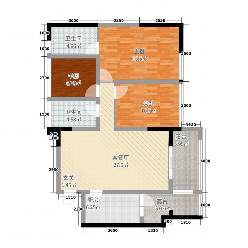 中铁仁禾广场16.30㎡B2户型3室2厅2卫1厨