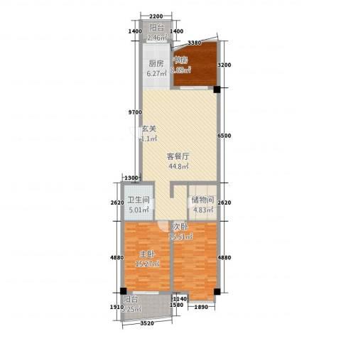 东方曼哈顿大厦3室1厅1卫0厨143.00㎡户型图