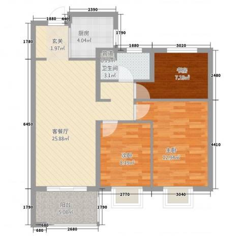 高速・时代城3室1厅1卫1厨66.60㎡户型图