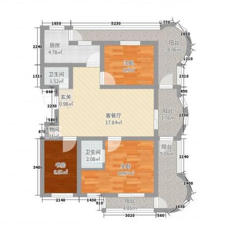 梦蓝湾碧海云天3室1厅2卫1厨184.00㎡户型图