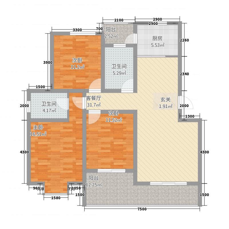 五岳臻品126.82㎡E户型3室2厅2卫1厨