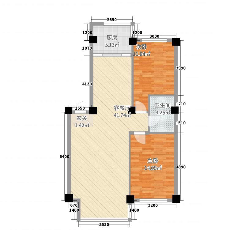 壹品园户型2室2厅1卫1厨