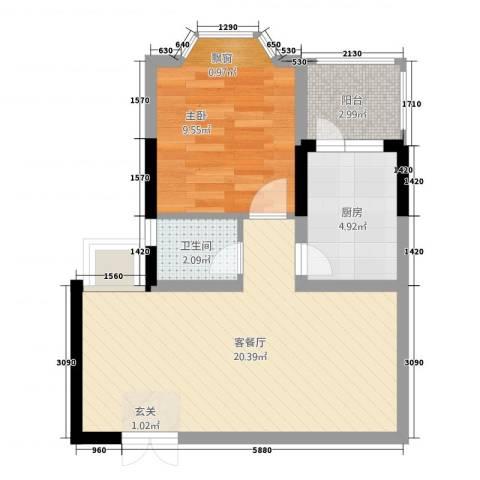 丽都大厦1室1厅1卫1厨57.00㎡户型图