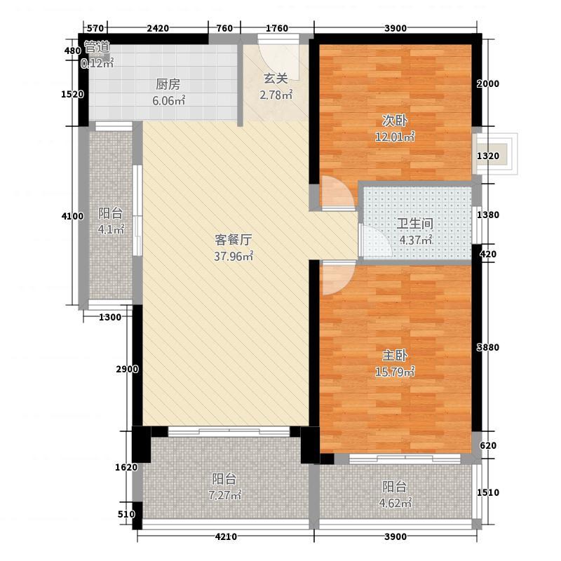金鑫国际户型2室
