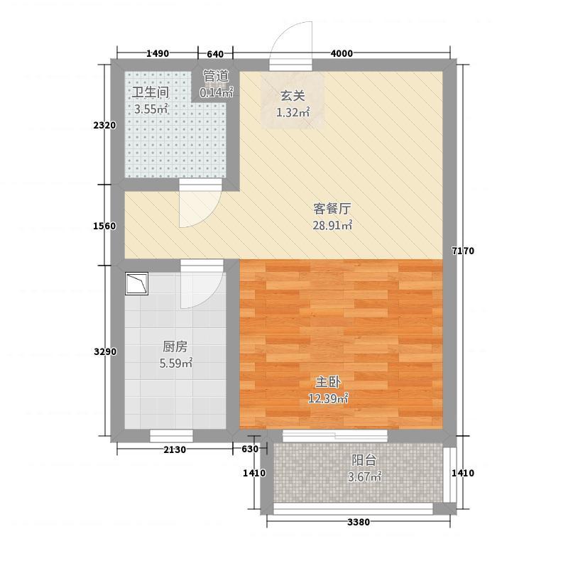 宏远宜居园6.00㎡高层户型1室1厅1卫1厨