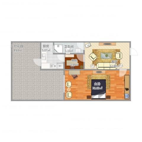 曹家巷2室1厅1卫1厨74.64㎡户型图