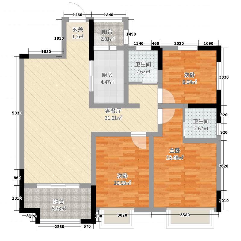 新豪天地13.00㎡B户型3室2厅2卫1厨