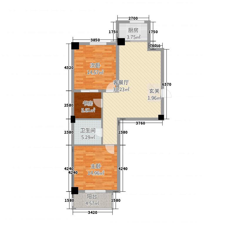 金华怡园1.80㎡D户型3室2厅1卫1厨