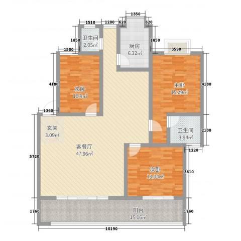 江滨鑫城3室1厅2卫1厨164.00㎡户型图