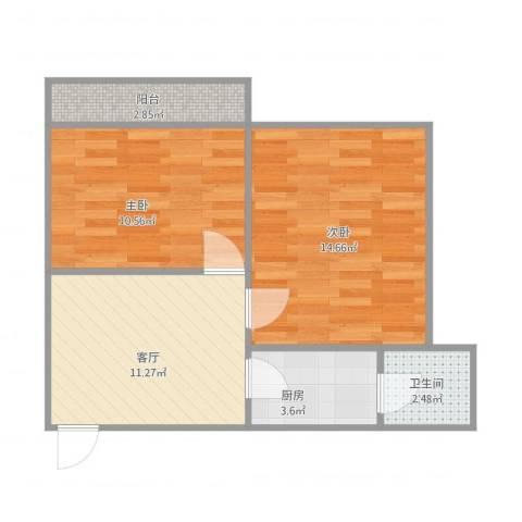 荔园新村2室1厅1卫1厨62.00㎡户型图