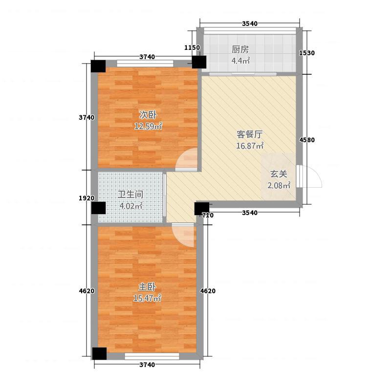 韩国城75.00㎡户型2室1厅1卫1厨