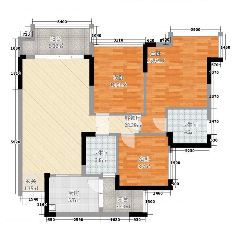 嘉禾国际h4户型3室2厅2卫1厨