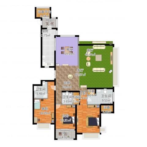雅戈尔东海府3室1厅3卫1厨209.35㎡户型图