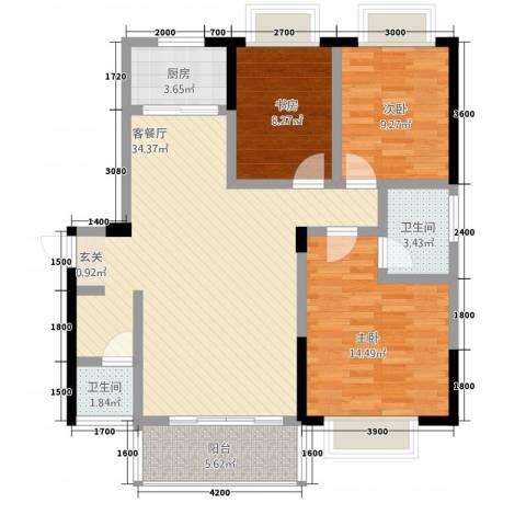江景阳光3室1厅2卫1厨94.08㎡户型图