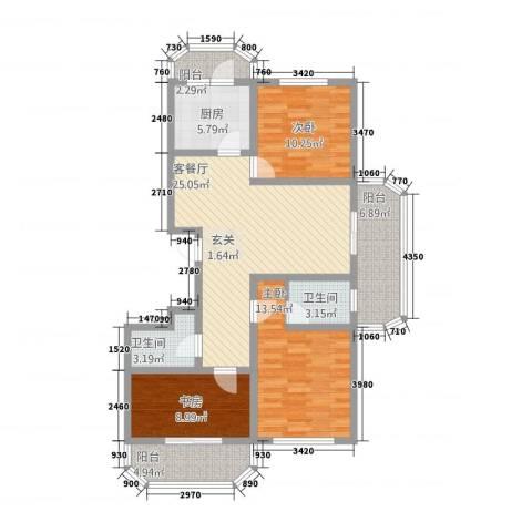 华府国际 临漳水岸3室1厅2卫1厨2124.00㎡户型图
