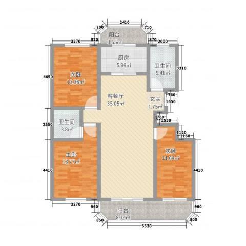 华府国际 临漳水岸3室1厅2卫1厨2145.00㎡户型图