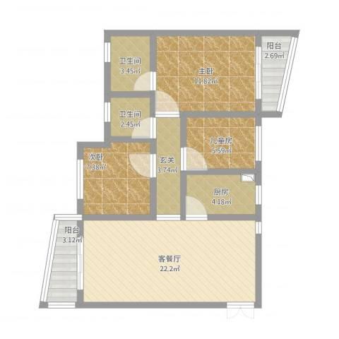 银泉花园3室1厅2卫1厨100.00㎡户型图